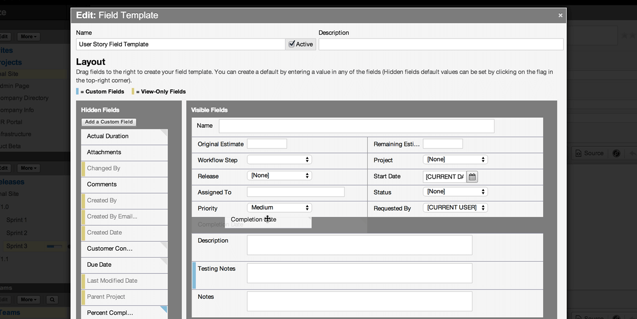 Axosoft customized field templates