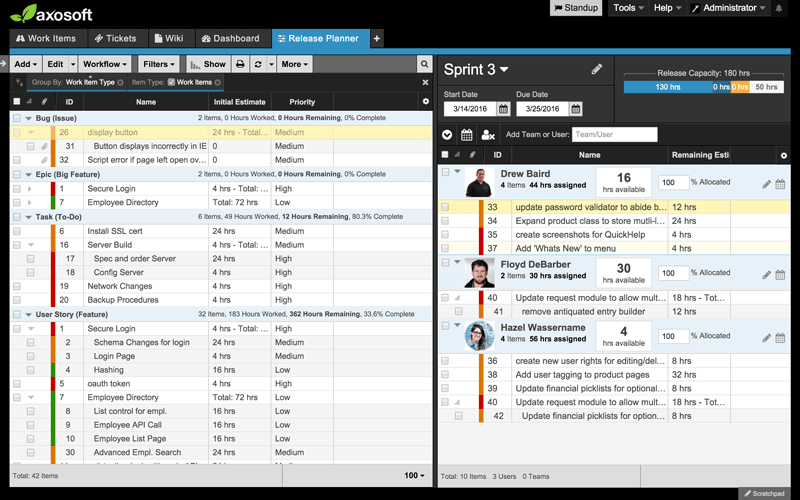 Axosoft Release Planner